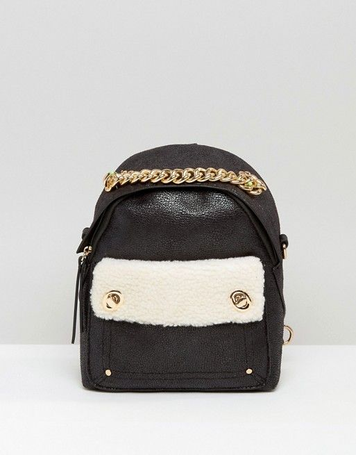 New Look | New Look Mini Faux Shearling Backpack