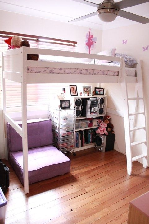 not the girl style but the room loft bed by window and fan