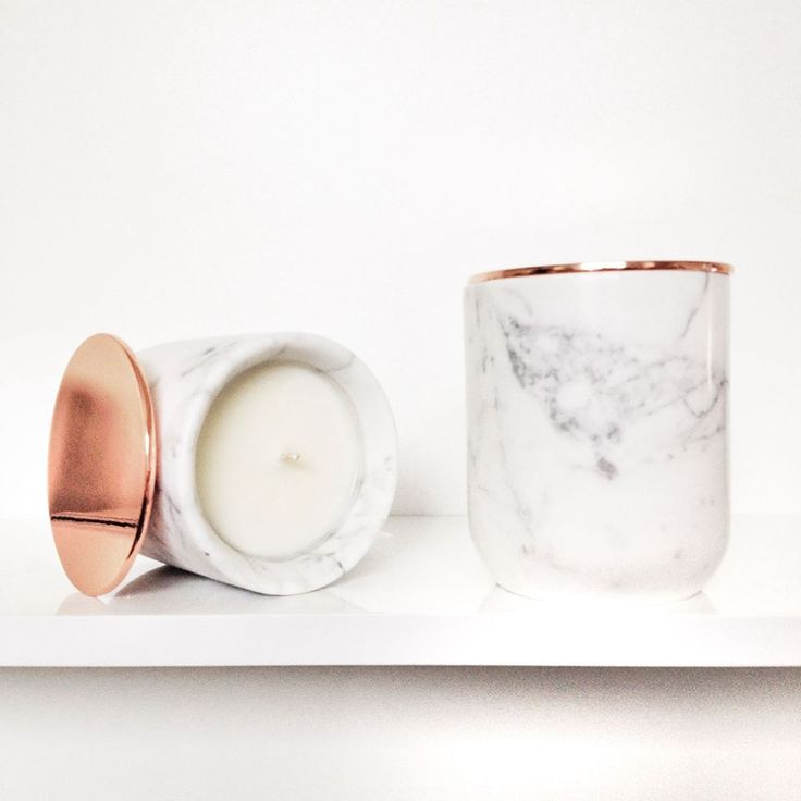 Bean Graced Italian Marble Candle with Metal Copper Lid