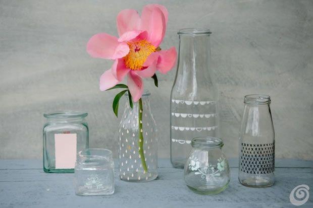 Botellas y frascos de vidrio personalizados manualidades - Manualidades con botellas de cristal ...