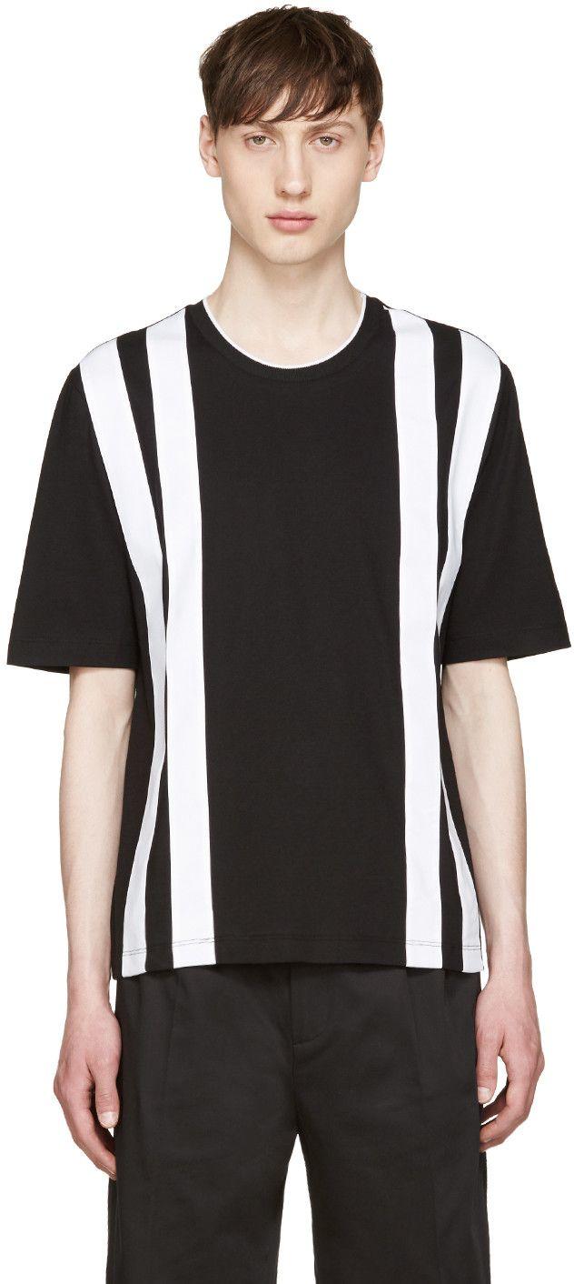 GIULIANO FUJIWARA BLACK & WHITE STRIPED T-SHIRT. #giulianofujiwara #cloth #t-shirt