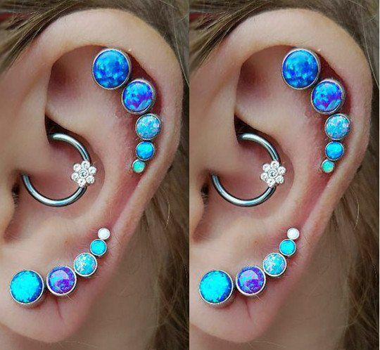 Most Gorgeous Multiple Ear Piercings at MyBodiArt - Opal Blue Cartilage Helix Earring Jewelry