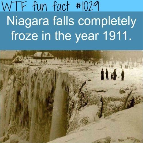 Niagara Falls fact. It's true, there have been winters so cold in Canada that Niagara Falls froze. You can see pictures in the historic Brock Hotel in Niagara Falls (along with a picture of Marilyn Monroe visiting the Falls!!)