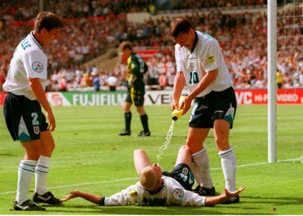 Paul Gascoigne goal celebration with Teddy Sheringham and Garry Neville