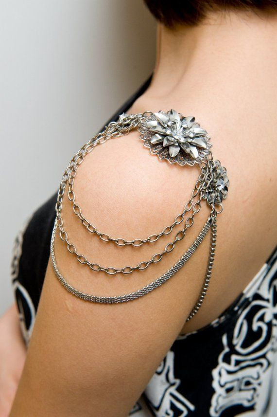 LOTUS Shoulder jewellery, shoulder piece, armour jewellery. I do think these would be fun to make.