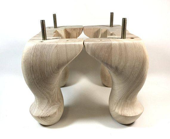 "Unfinished Wood Wooden Furniture Bun Table Sofa Legs Feet Leg 4/"" Dia 4 Pack"