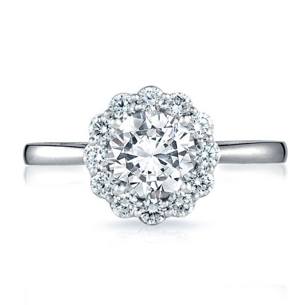 Tacori Engagement Rings Full Bloom Halo Setting .69ctw of round diamonds which accent your center stone. Shop now.