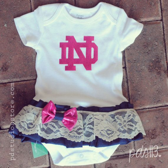 Baby Girl Pink Notre Dame, Football University Theme Onesie, Dress with Lace Ruffles, Bow and Headband on Etsy, $25.00
