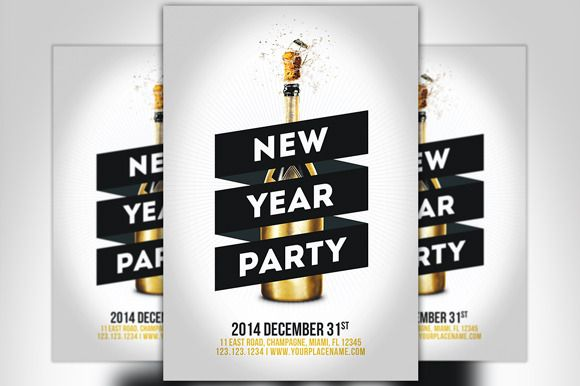Check out Minimal New Year Party Flyer by Flyermind on Creative Market