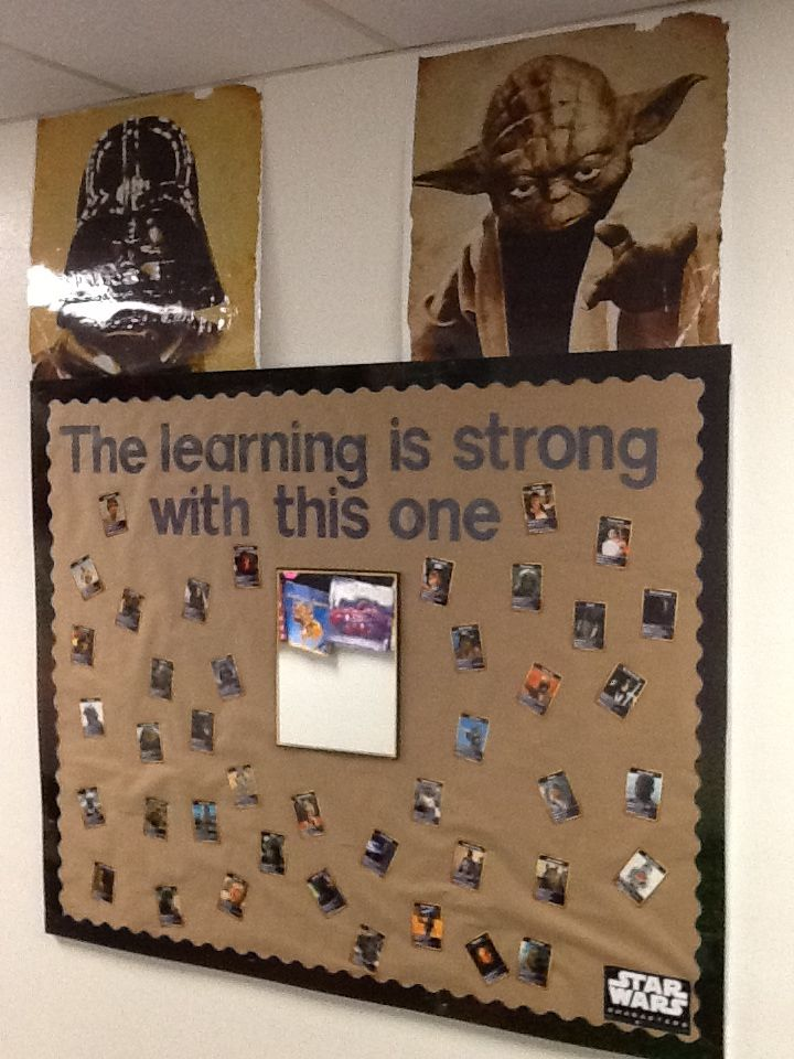 """I created my bulletin board using """"the 'force' is strong with this one"""" quote.  I used 'learning' instead of 'force' and added a mirror.  I cut apart a Star Wars characters poster and made adjustments to pictures; if they were holding a weapon, I pasted a picture of a school item over it, and I changed 'weapon' to 'favorite subject' and gave the characters a school subject that they liked."""