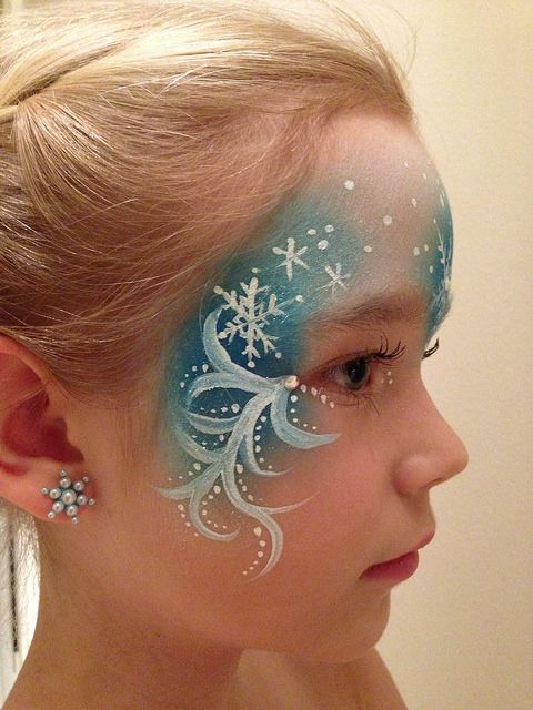 Elsa face paint | Beautiful Elsa from Frozen inspired face paint for a little girl's birthday party....