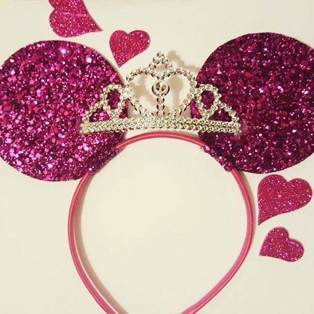 Gorgeous sparkly handmade Minnie ears in fuchsia glitter fabric with a silver tiara  fit for a princess! #disney #minnie #minniemouse #minnieears #ears #headband #tiara #crown #princess #pink #girly #glitter #sparkle #girls #disneyland #instadisney #hen #hendo #henparty #handmade #hens #bridalshower #bacheloretteparty #cute #minniemonday