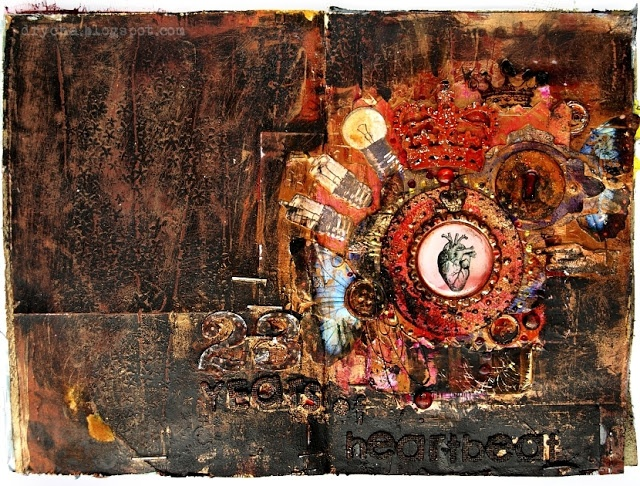 """art journal page by Drycha with 3rd Eye #stamp """"meadow"""" and """"lightbulbs"""" *  http://3rdeyecraft.blogspot.com/2012/10/heartbeat.html  * #heart #anatomical #stamping #lightbulbs #steampunk #collage #bulb #gesso"""
