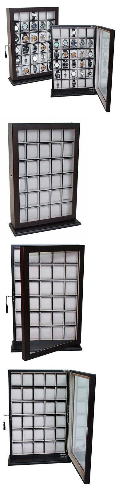Watch 168164: 30 Watch Ebony Walnut Wood Display Wall Case Stand Storage Organizer Box Hang -> BUY IT NOW ONLY: $159.99 on eBay!