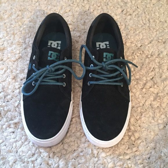 DC Skate Shoes black suede & turquoise Worn once inside for a few hours. Women's size 8. Mint condition with minor wear, honestly they look brand new. Ships same or next day. DC Shoes Sneakers
