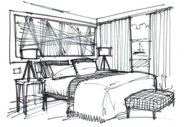 qsketch interior design: cliff house hotel | sketches - interior
