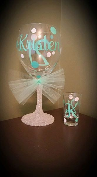 21st Birthday Personalized Glitter Stemmed Wine by ByJusteenCrafts
