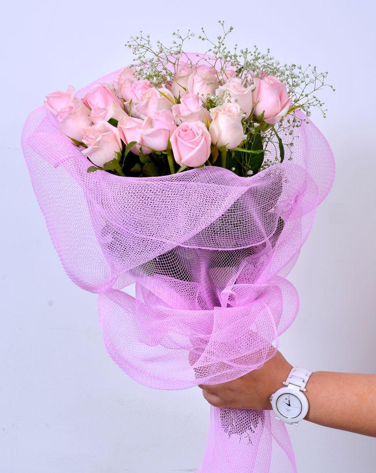 Beauty And Grace: An elegant bunch of fresh #PinkRoses #FreshFlowers #HandBouquet #NotJustFlowers #Roses #SameDayDelivery