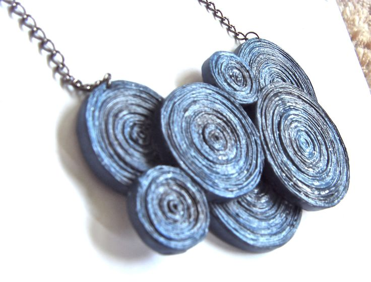 Deja-7 Necklace in Marine,  paper beads made of recycled newspapers and hand painted. £22.95, via Etsy.