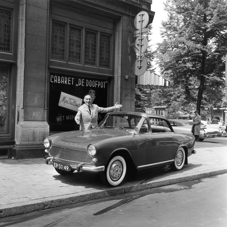 "Max Tailleur with his new Simca Plein Ciel, in front of the Cabaret ""De Doofpot"", Rembrandtplein, Amsterdam, 1961."