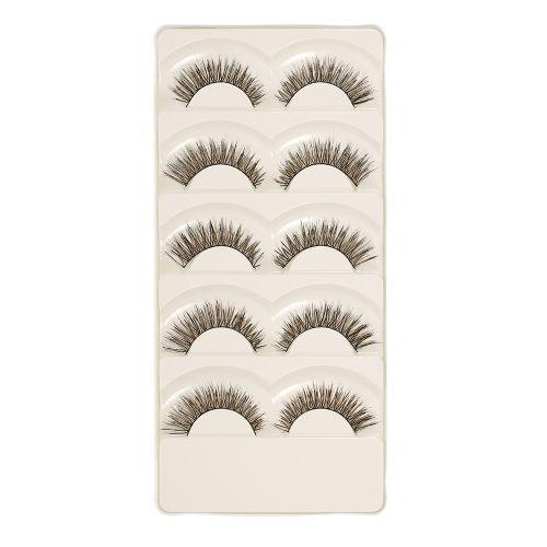 5 Pairs Crossed Eyelashes Black & Brown Long Upper Eyelashes Handmade Makeup Eye Fake Eyelashes Makeup Tools