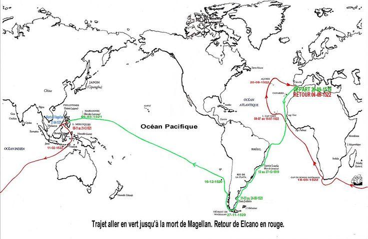 75- Itinéraire de l'expédition de Magellan. Trajet aller en vert jusqu'à la mort de Magellan. Retour de Elcano en rouge.- § MAGELLAN: Les 5 survivants de La Trinidad, qui eux aussi ont accompli le tour du monde, mais en ne revenant en Europe qu'en 1525-1526: Gonzalo Gomez de Espinosa, prévôt de la flotte (alguazil).- Leone Pancaldo, pilote.- Juan Rodriguez el Sordo, marin.- Gines de Mafro, marin.- Hans Vargue, canonnier.- Cependant, nombreux sont les historiens qui font remarquer qu'en,....
