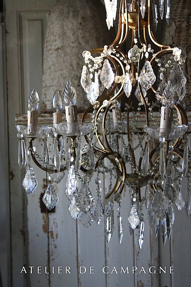 "South France 1920's Size 25"" H x 26"" dia .  #21/113 Chandelier"