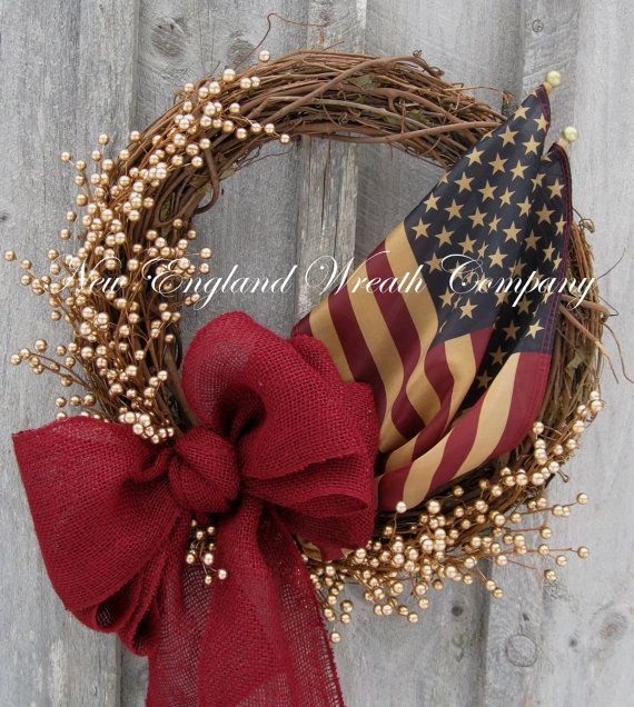 Americana Wreath Patriotic Wreath Fourth of by NewEnglandWreath