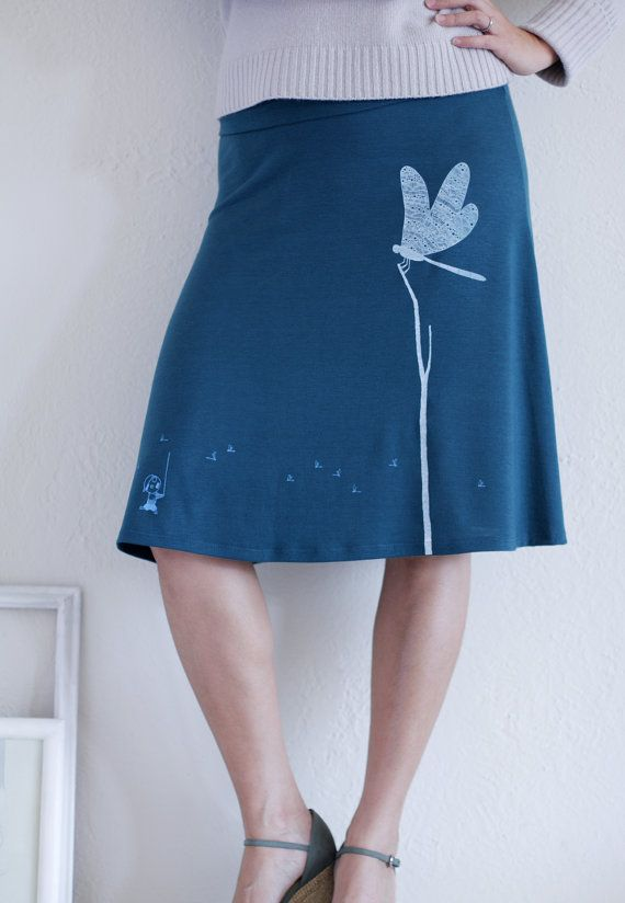 Stretchy Jersey Skirt . Womens Knee Length Skirts .Teal Blue A-line skirt - Catching the Dragonfly - size Medium. $52.00, via Etsy.