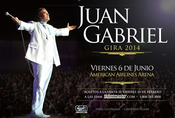 JUAN GABRIEL in Miami! Friday, June 6th, AmericanAirlines Arena Tickets on sale Fri Feb 14 @ 10AM! Presale Thursday using password: volver Preventa: Jueves 13 de Febrero a las 10AM, password: volver  Venta general: Viernes 14 de Febrero a las 10AM @JuanGabriel_ @Charlotte Mcfarland @Alli Cundiff