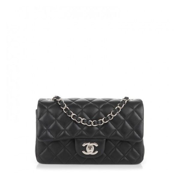 CHANEL Lambskin Quilted Rectangular Mini Flap Black ❤ liked on Polyvore featuring bags, handbags, shoulder bags, mini handbags, mini crossbody purse, crossbody handbag, mini purse and chanel shoulder bag
