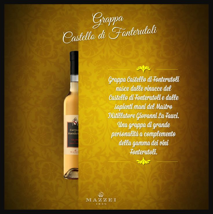 GRAPPA CASTELLO di FONTERUTOLI - Grappa Castello di Fonterutoli comes from Castello di Fonterutoli'marc and by the skilled hands of Master Distiller Giovanni La Fauci. A product distinguished by great personality and elegance that complete the range of Fonterutoli wines. @marchesimazzei #winegallery #marchesimazzei #fonterutoli #wine #tuscany #winelovers