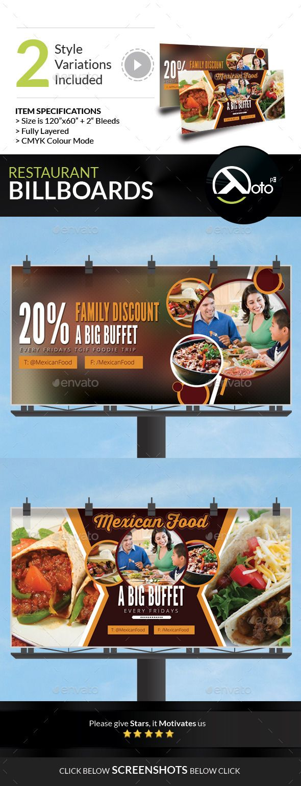 Mexican Restaurant Promotion Billboard — Photoshop PSD #wrap #eat • Available here → https://graphicriver.net/item/mexican-restaurant-promotion-billboard/9234479?ref=pxcr