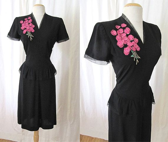 Classic 1940's Black Crepe Dress with 3 Dimensional by wearitagain, $250.00