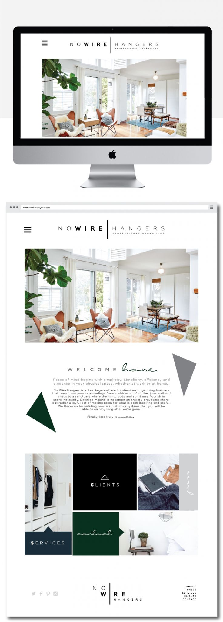 Clean website layout for a custom wordpress site client. This website includes very clean and minimal branding and website design and layout, minimal branding, clean design, minimal website layout