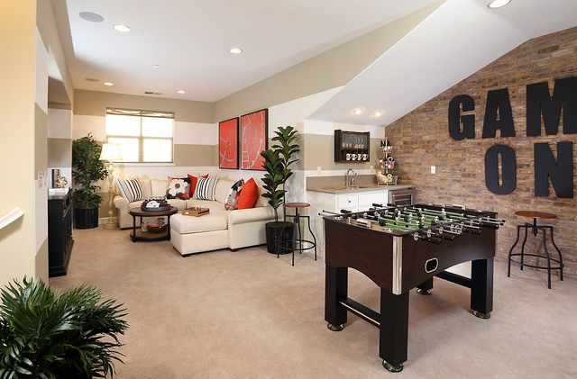 Game on! Game space galore in this Shea Homes Ravello Plan 3L Loft. Decor by Design Line Interiors