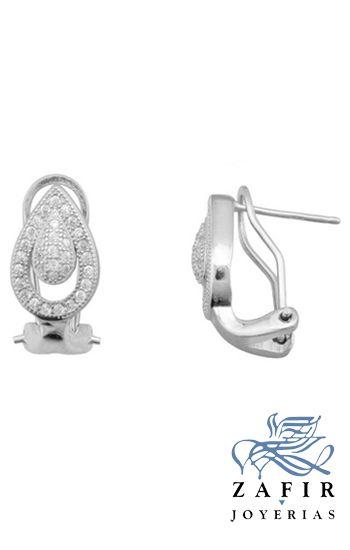 Tipo: Pendientes de plata con forma de lágrima y circonitas engastadas  estilo novias Genero Señora Piedras: Circonitas Material: Plata de ley (925mm) Rodiada. Medida del pendiente: 16 x 8.5 mm Tipo de cierre: Omega