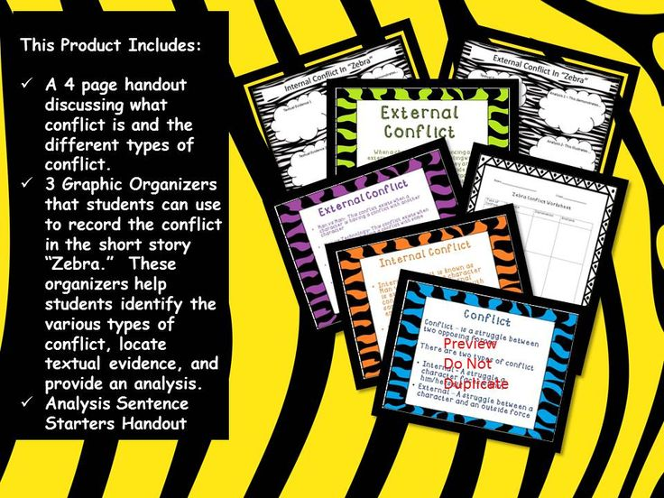 """Contains a vivid 4 page handout discussing what conflict is and the different types of conflict in the short story, """"Zebra"""". In addition, you receive 3 graphic organizers. Students can use these organizers to record the conflict in the short story """"Zebra."""" They help students identify the various types of conflict, locate textual evidence, and provide an analysis. A two page handout of Prompting Analysis Sentence Starters is also included to help struggling learners."""
