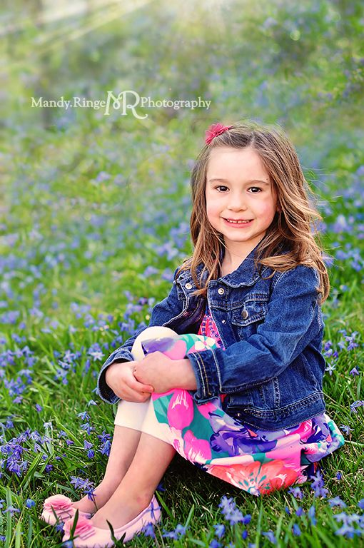 Adorable Four Year Boy With Big Blue Eyes Stock Image: Spring Portraits // 4 Year Old Girl // Blue Flowers