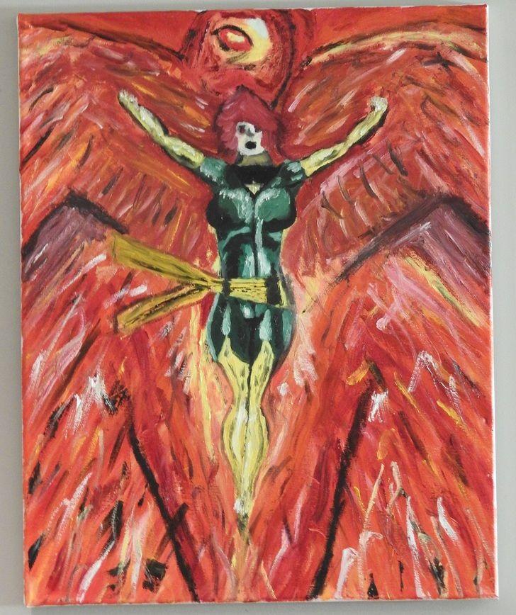 Jean Grey The Phoenix, oil, 16x20