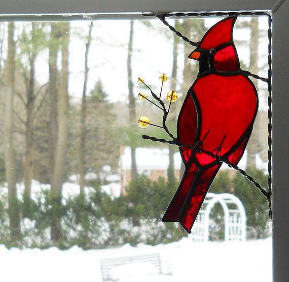cardinal bird / stained glass window corner/ top right corner position