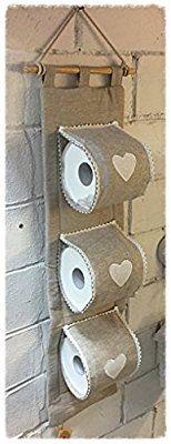 Porta carta igienica da parete in tessuto a 3 posti 100% cotone écru beige con cuoricini bianchi cm 74x20