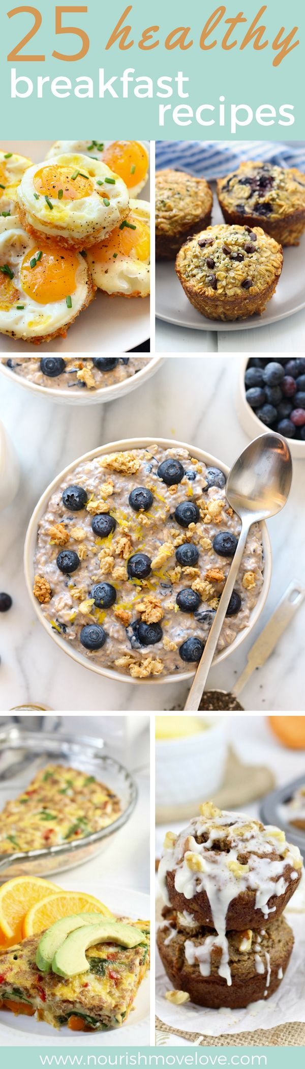 25 healthy breakfasts that you can meal prep for the week. Savory and sweet options that will satisfiy and keep you full all morning long. All natural, clean ingredients, simple recipes. Egg + sweet potato hash brown cups, protein muffins, overnight oats, vegetable egg bake, banana muffins.