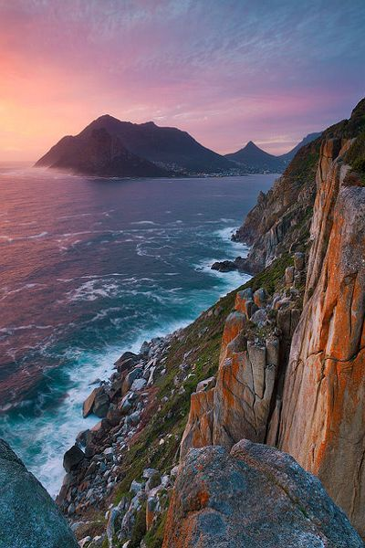 "Chapman's Peak, Cape Town, South Africa - arguably one of the most scenic drives in South Africa if not the world; Chapman's Peak hugs the coast on a cliff between Hout Bay and Noordhoek. Affectionately known as ""Chappies"", this 9km route, with its 114 curves, skirts the rocky coastline of Chapman's Peak (593m), which is the southerly extension of Constantiaberg."