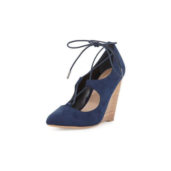 Charles By Charles David Ima Lace-Up Wedge Pump ($51) ❤ liked on Polyvore featuring shoes, pumps, dark blue, suede pumps, dark blue pumps, lace up wedge shoes, pointy toe wedge pump and suede wedge shoes