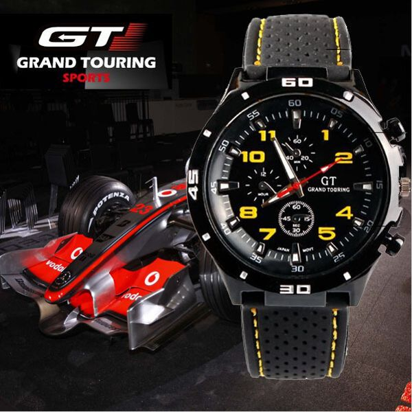GT 54 GRAND TOURING Silicone Band Quartz Analog Sport Watch at Banggood