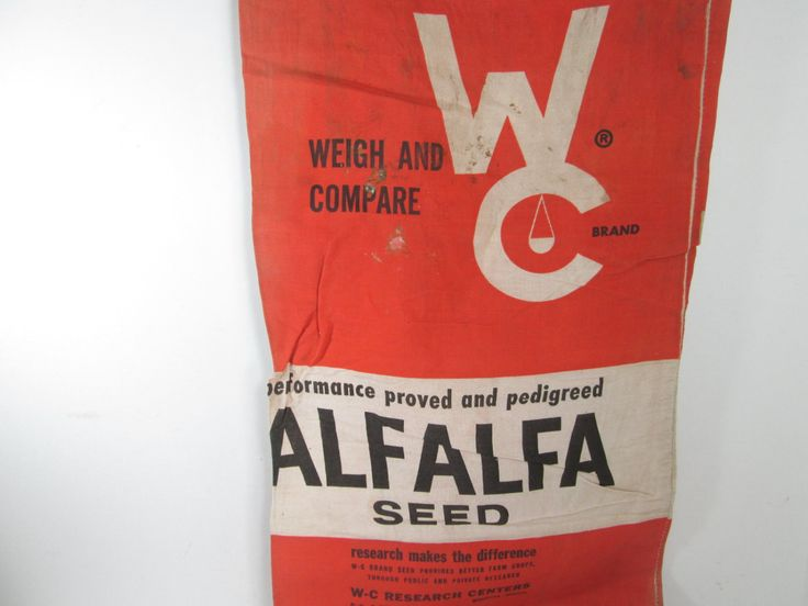 Seed Sack Weigh and Compare Red Seed Bag Alfalfa Chicago Illinois
