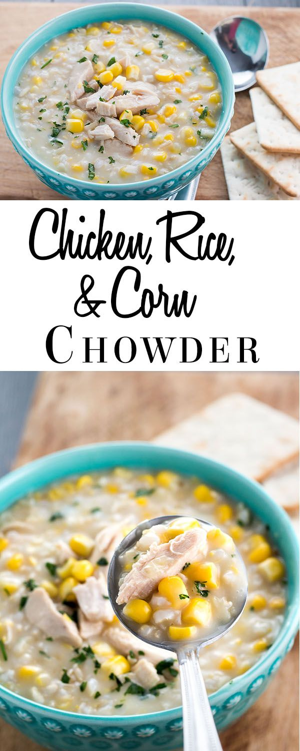 This simple recipe for Chicken and Rice Corn Chowder is a thick, satisfying, and warming winter chowder that's packed chicken and rice. via @Erren's Kitchen