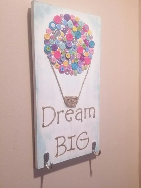 Wood Sign with Button Art Hot Air Balloon by Gr8byz. – gr8byz4u