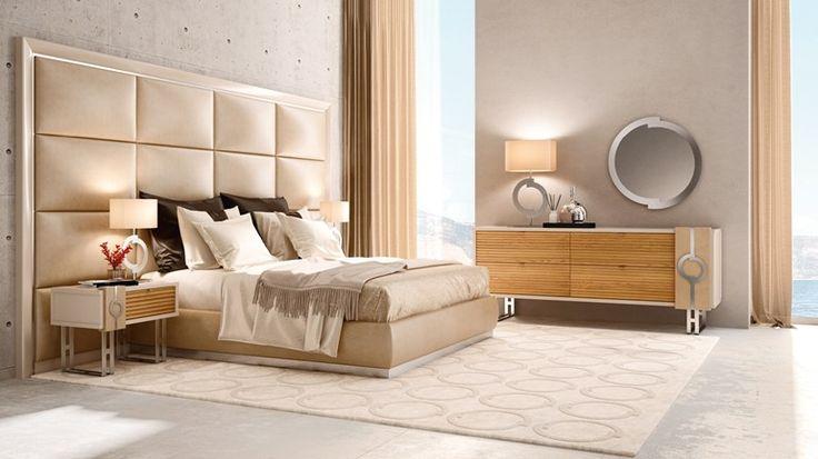 Testiera alta imbottita in legno in stile moderno per hotel DOMINO   Testiera imbottita - Caroti